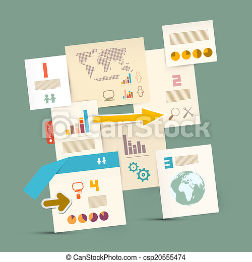 Vector Infographics Paper Layout - Template - csp20555474