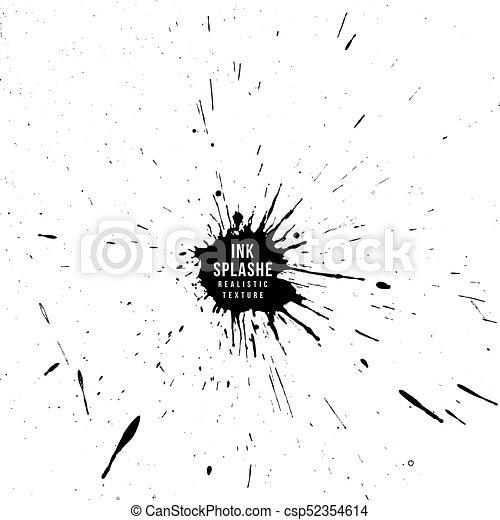 Vector ink paint splatter texture Vector black monochrome ink paint