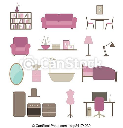 Vector Interior Design Elements Vector Illustration Of Interior Adorable Interior Design Elements