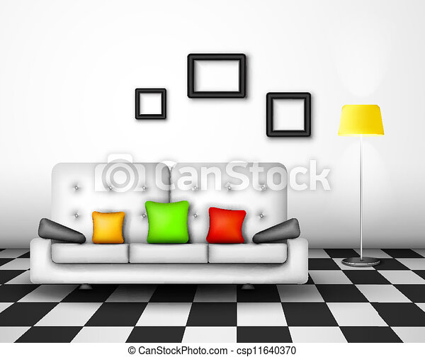 Vector interior design Modern interior home design eps 10 vectors