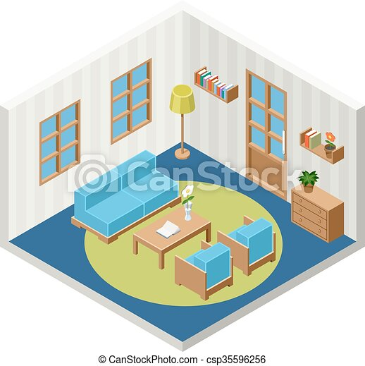 Vector interior of the isometric room with furniture - csp35596256