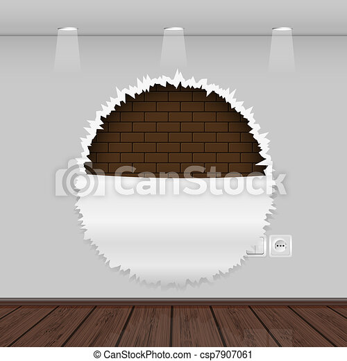 Vector interior with a ragged wall and wooden floor - csp7907061