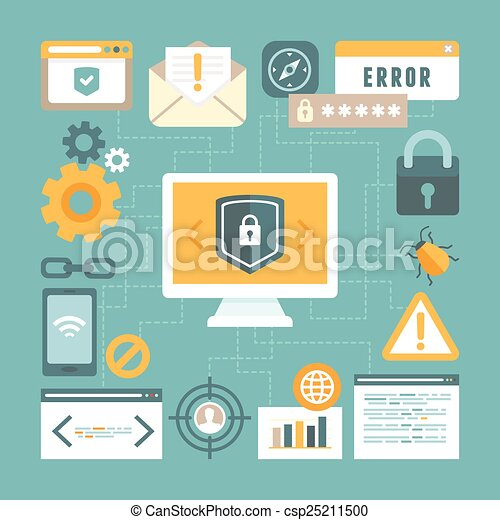 Vector internet and information security concept in flat style - csp25211500