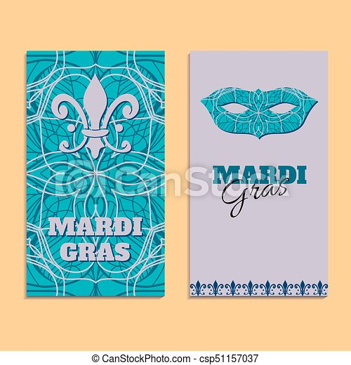 Vector invitation card template to Fat Tuesday. Mardi Gras carnival welcome - csp51157037
