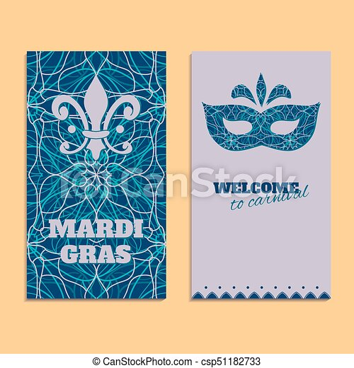 Vector invitation card template to Fat Tuesday. Mardi Gras carnival welcome - csp51182733