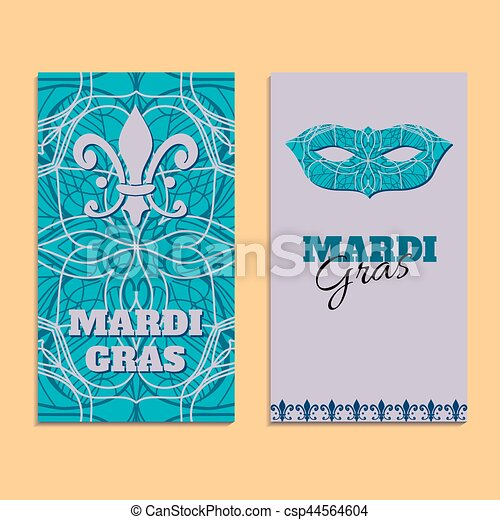 Vector invitation card template to Fat Tuesday. Mardi Gras carnival welcome - csp44564604