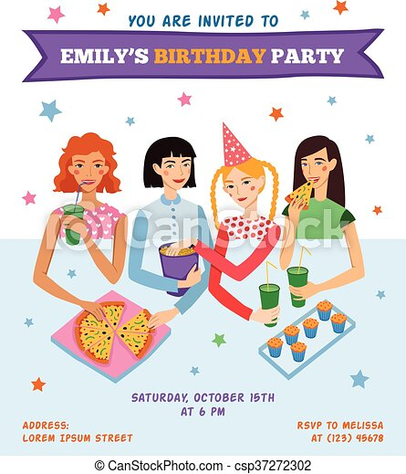 Vector Invitation Flyer Card For Teenage Girl S Birthday Party With Four Pretty Friends Celebrating