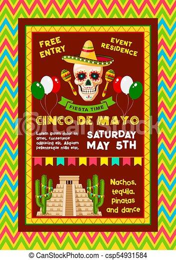 Vector Invitation For Mexican Cinco De Mayo Party