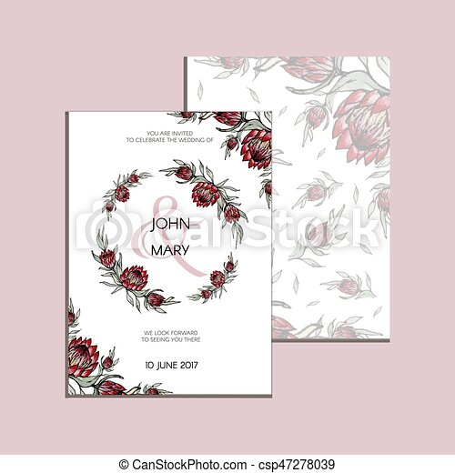 Vector invitation with handmade floral elements and flowers of ...