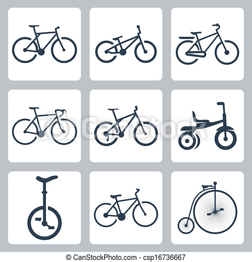 Vector isolated bicycles icons set - csp16736667