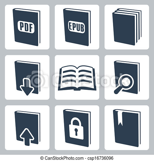Vector isolated books icons set - csp16736096