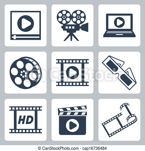 Vector isolated cinema/video icons set - csp16736484