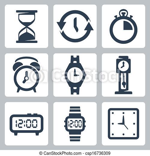 Vector isolated clocks icons set - csp16736309