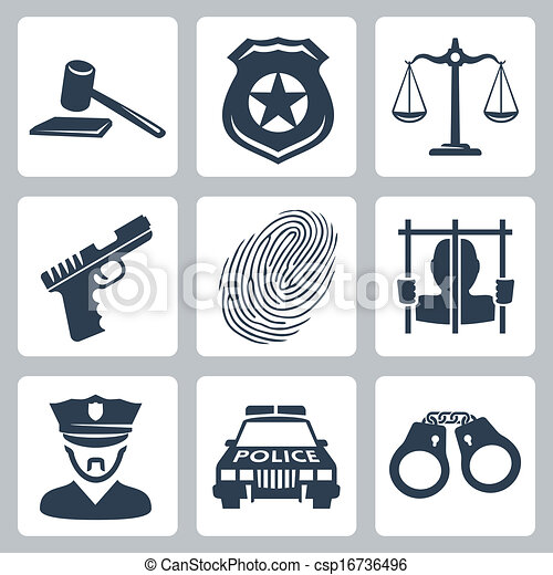 Vector isolated criminal/police icons set - csp16736496