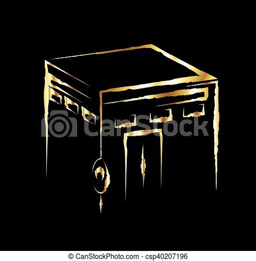 Vector. Isolated illustration of Kaaba, Mekkah. Saudi Arabia. Islamic sacred mosque Al Haram. Golden. - csp40207196