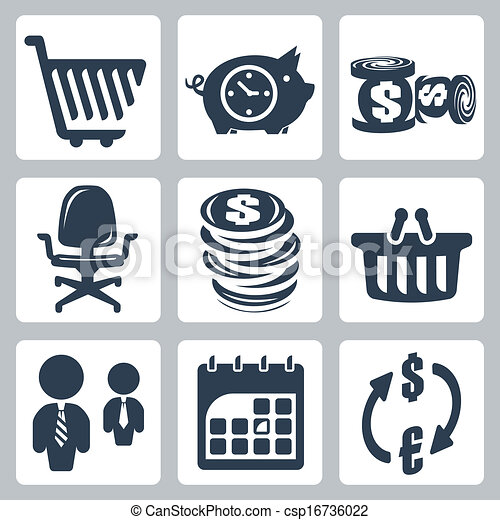 Vector isolated money icons set - csp16736022