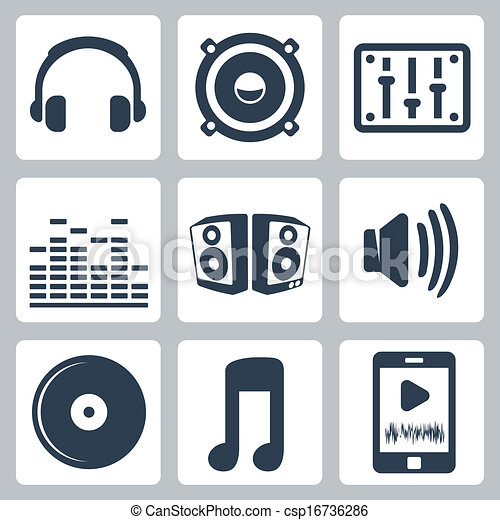 Vector isolated music icons set - csp16736286