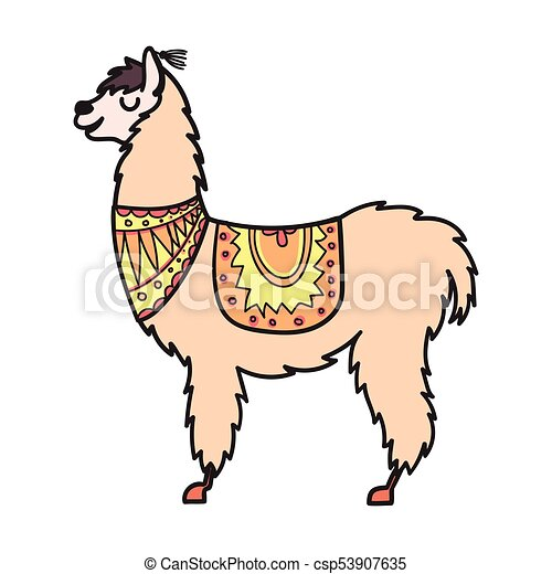 vector isolated outline cartoon baby llama hand drawn peru rh canstockphoto com llama clip art free llama clipart cute