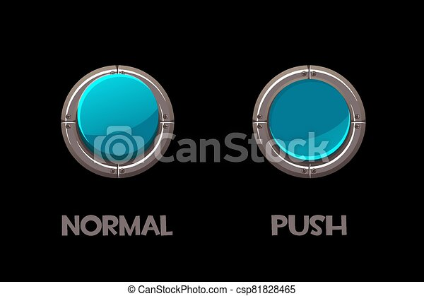 Vector isolated round metallic buttons push and normal. - csp81828465