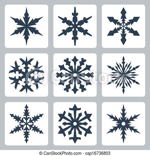 Vector isolated snowflakes icons set - csp16736803