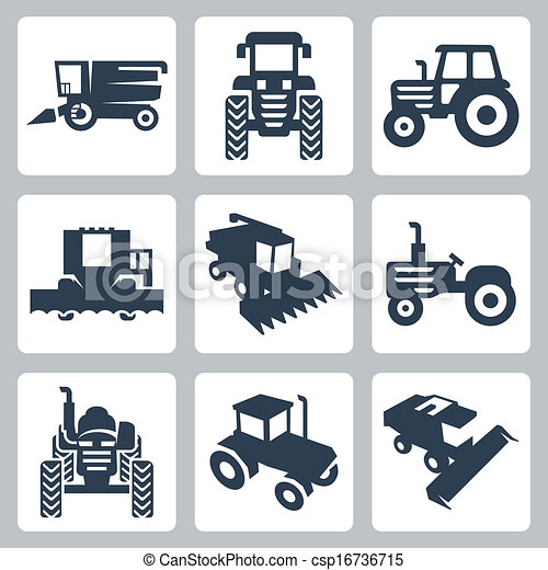 Vector isolated tractor and combine harvester icons - csp16736715