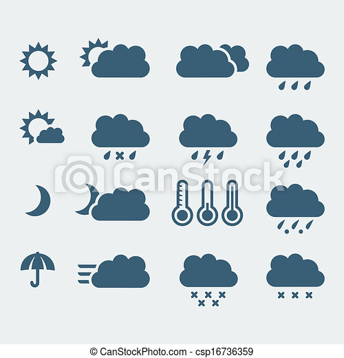 Vector isolated weather icons set - csp16736359