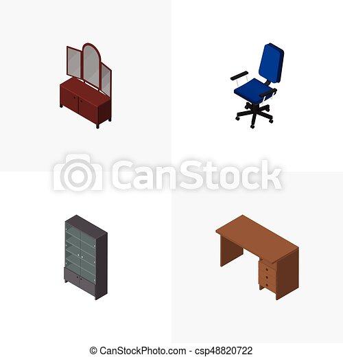 Vector, isométrico, conjunto, elements., oficina, aparador ...