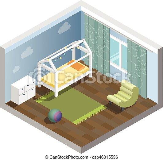 Vector, isométrico, conjunto, habitación, sitio de los cabritos ...