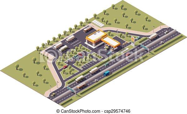 Estación de relleno isometrico Vector - csp29574746