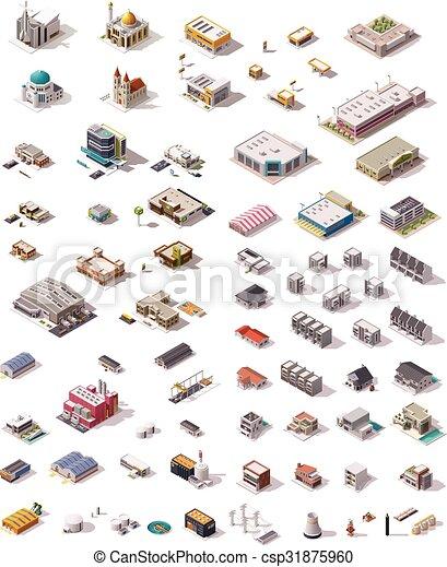 Vector isometric buildings set - csp31875960