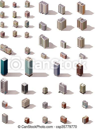 Vector isometric buildings set - csp35779770
