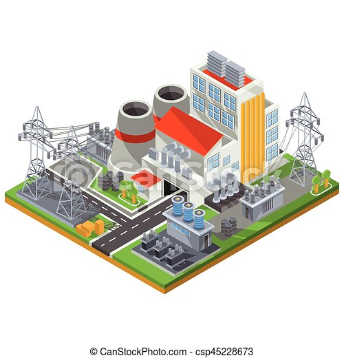 Vector Isometric Illustration Of A Thermal Power Plant For