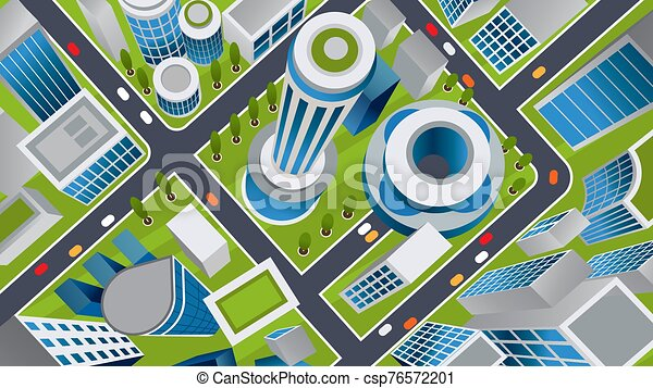 Vector isometric illustration of a futuristic city - csp76572201