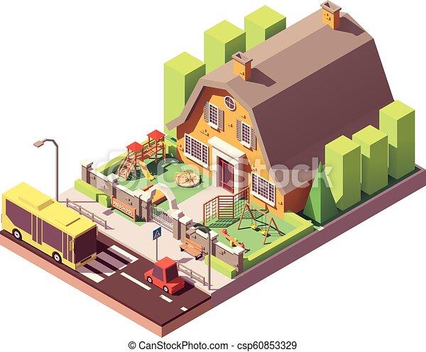 Vector Isometric Kindergarten Or Preschool Building With Playground