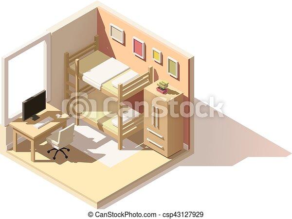 Vector isometric low poly children room icon - csp43127929