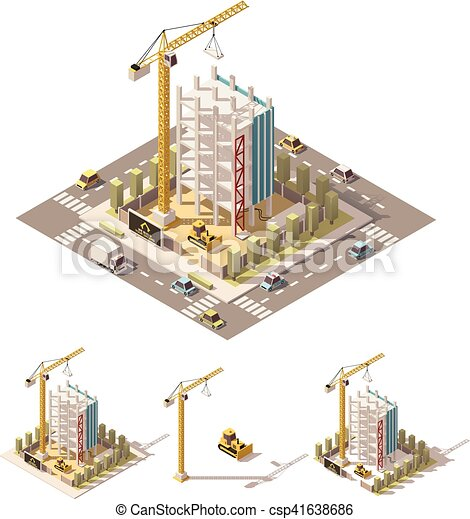 Vector isometric low poly construction site - csp41638686
