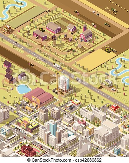 Vector isometric low poly farm and city - csp42686862