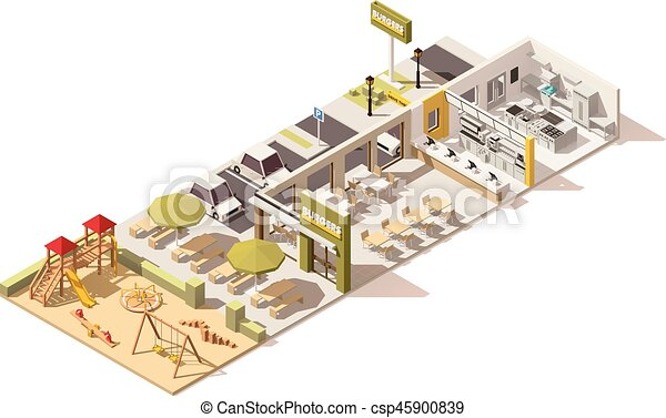 Vector isometric low poly fast food restaurant - csp45900839