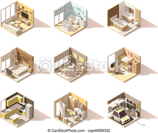 Vector isometric low poly home rooms set - csp44599332