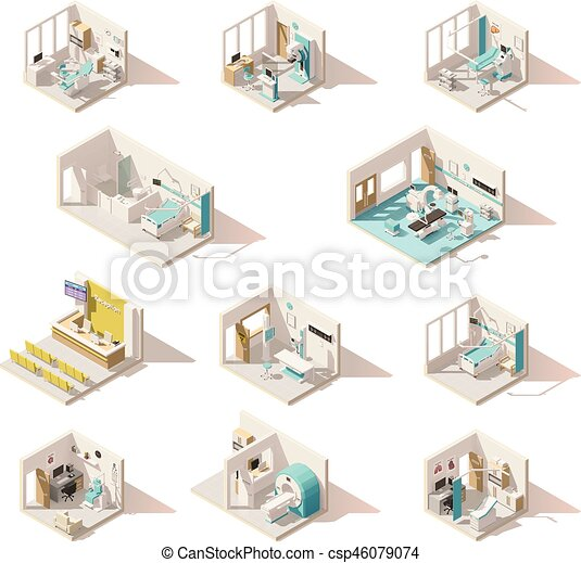 Vector isometric low poly hospital rooms - csp46079074