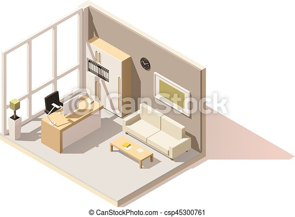 Vector isometric low poly office room - csp45300761