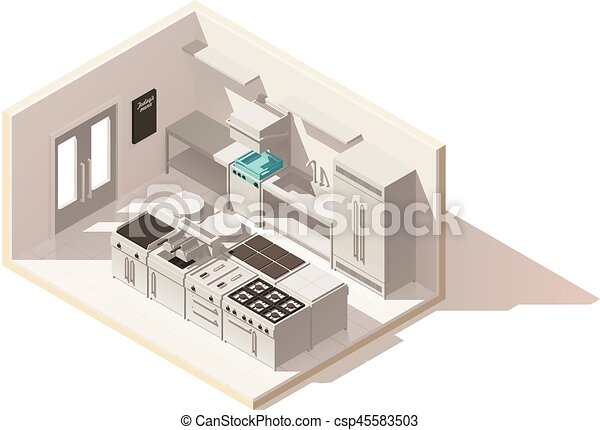 Vector isometric low poly professional kitchen - csp45583503