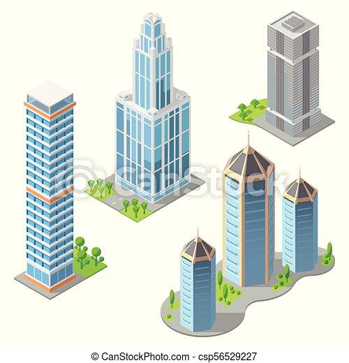 Vector isometric modern buildings, cartoon skyscrapers. Vector set ...