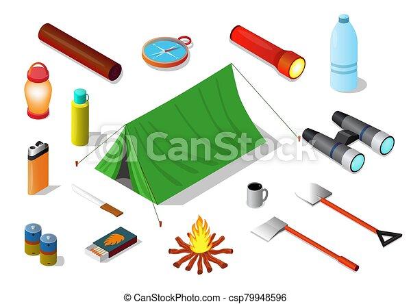 Vector isometric of Survival emergency kit set, - csp79948596