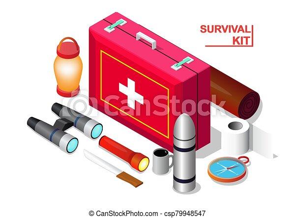 Vector isometric of Survival emergency kit set, - csp79948547