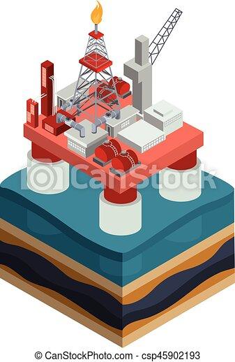 Vector isometric oil producing offshore platform - csp45902193