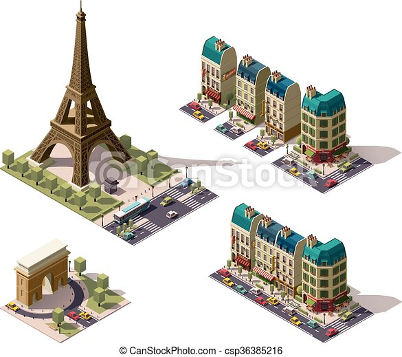 Vector isometric Paris architecture elements - csp36385216