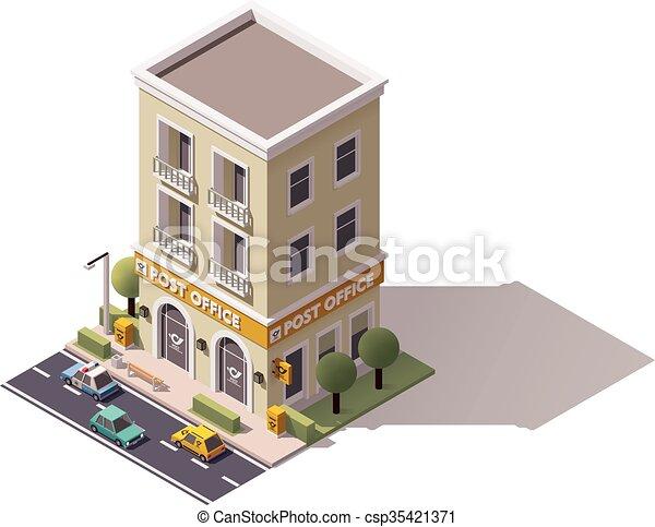 Vector Isometric Post Office Building Icon Vectors