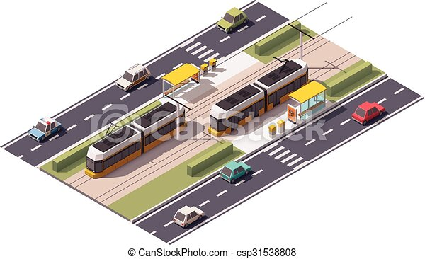 Vector isometric tram station - csp31538808