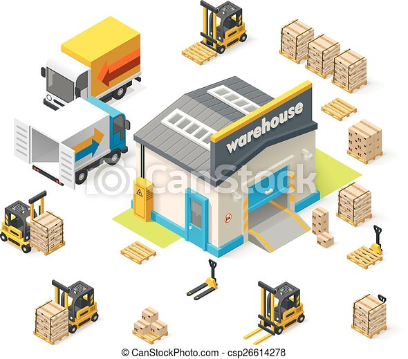 vectors illustration of vector isometric warehouse building icon